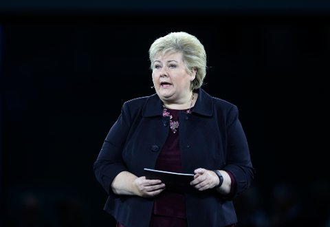 "Oslo  20170105. NHOs årskonferanse 2017,  ""Made in Norway"". Statsminister Erna Solberg er første taler på NHOs årskonferanse. Foto: Vidar Ruud / NTB scanpix"