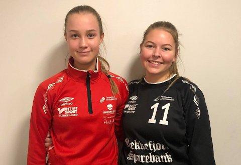 ETT POENG: Andrea Dyrli Log og Eline Sandsmark, Flekkefjords beste spillere i Listahallen onsdag kveld. Foto: FHK