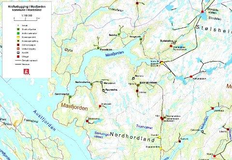 Her er alle dei planlagde kraftverka i Masfjorden. Kart: Fylkesmannen i Hordaland.