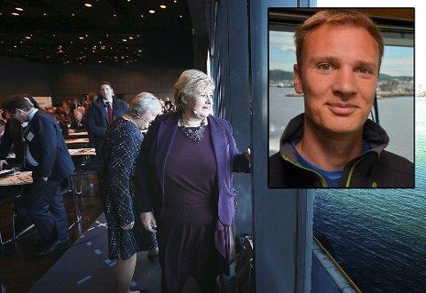 Statsminister Erna Solberg og Høyres førstekandidat, Bård Ludvik Thorheim roser næringslivet og prestasjonen i det siste året. Men spesielt én faktor bekymrer dem begge. Foto: Tom Melby/privat (arkiv)