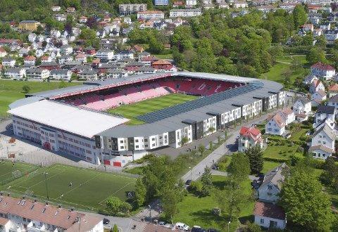 Slik vil et nytt Brann Stadion se ut om det bygges leiligheter i den søndre tribunen. ILLUSTRASJONSFOTO: Brann