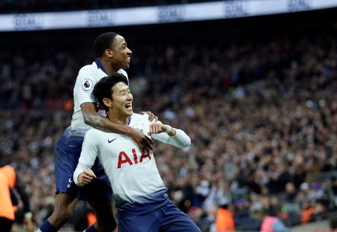 Tottenham og Heung-Min Soner i kjempeform.  (AP Photo/Tim Ireland)