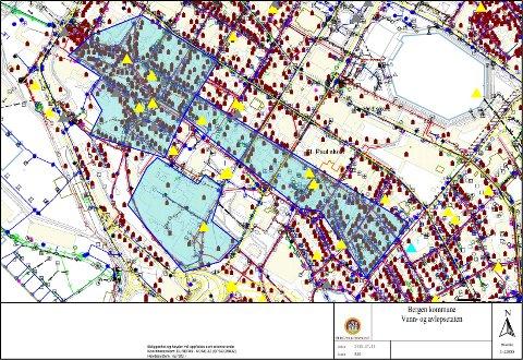 De berørte boligene ligger innenfor de markerte feltene i blått.