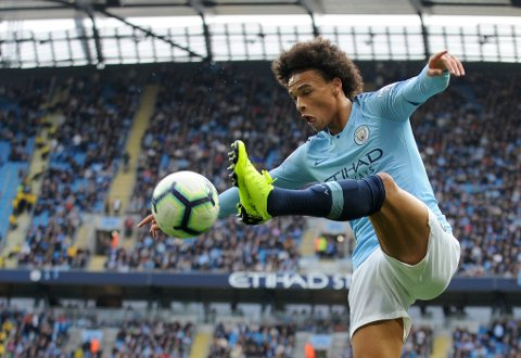 Manchester City's Leroy Sane kicks the ball during the English Premier League soccer match between Manchester City and Burnley at Etihad stadium in Manchester, England, Saturday, Oct. 20, 2018. (AP Photo/Rui Vieira)