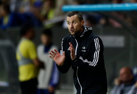 Rosenborg's head coach Eirik Horneland gestures during the Champions League second qualifying round, 1st leg soccer match between Bate and Rosenborg at the Borisov-Arena in Borisov, Belarus, Wednesday, July 24, 2019. (AP Photo/Sergei Grits)