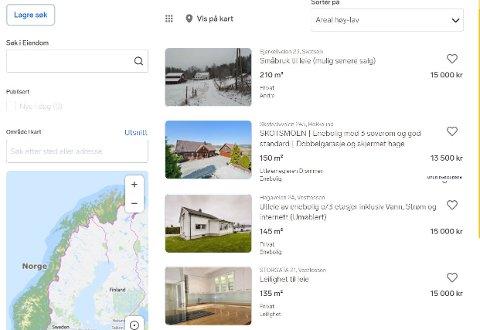 TIL LEIE: Iskrivende stund ligger det 32 boliger ute til leie på Finn.no. I Øvre Eiker kan du stikke av med å kun betale 5.500 kroner i leie. Du kan også velge mellom en rekke hus for 15.000 kroner.