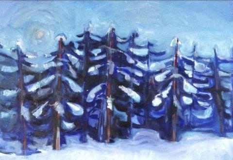 Mystisk: Man aner både troll og tusser i Erling Skogens malerier ...