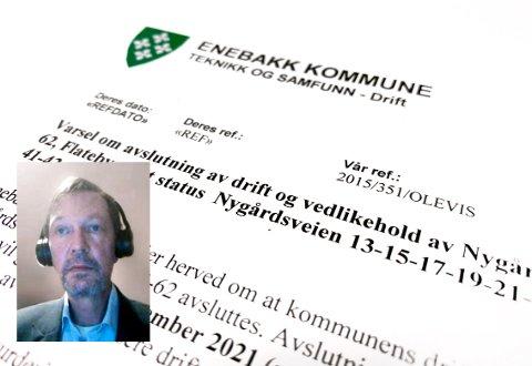 Leder i utvalg for teknikk og utvikling, Dag Bjerke (Frp), er ikke fornøyd med hvordan Enebakk kommune har håndtert saken om å avslutte brøyting av private veier på. Nå vil han at politikerne skal ta over styringa i saken, og det fikk han formannskapet med på.