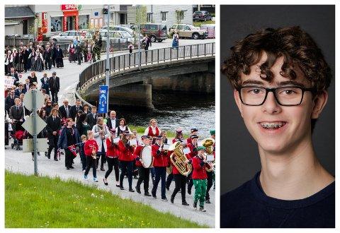 17. MAI: Det blir ikkje noko stortog med folk, men Nikolai Ripe (15) skal syte for at Sande-folket får nasjonaldagsstemning heim i stova.
