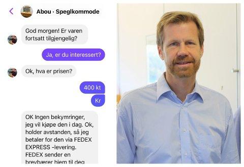 LURERI: Gunnar Hæreid la ut annonse for speglkommoden sin på Facebook. Då fekk han melding frå fire-fem svindlarar på kort tid.
