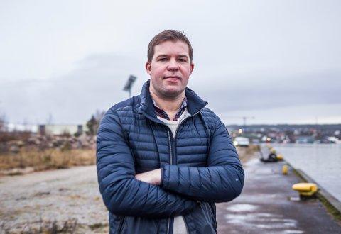 INN PÅ VÆRSTE: Her, ved bryggekanten på Værste, skal Arena Fredrikstad bygges. Stjernen-leder Truls Navestad er klar på hva klubben skal være i fremtidens Fredrikstad.