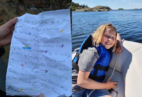 FLASKEPOST FRA HAVET: Andrea Moe Nilsen (10) sendte en flaskepost 29. mai i fjor. Første nyttårsdag ble den funnet i Svalerødkilen. Til stor glede for både sender og mottaker.