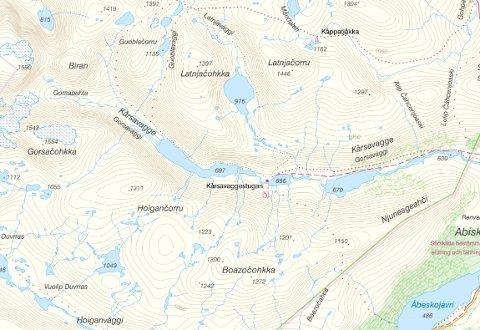 OMKOM: Det var i dette området, i Kårsavagge utenfor Abisko, at den 45 år gamle fjellguiden omkom.