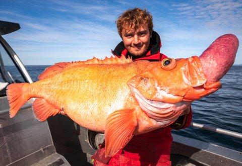 SVÆR UER: Bilal holder her opp en uer på 9.5 kilo som han tok på Sørøya denne uka.