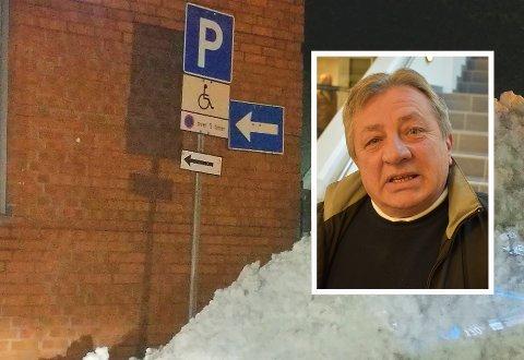 LOVLIG PARKERING: Zvonimir Vojtulek (innfelt) hevder han stilte bilen fra seg på en plass han har rett til å bruke. Liftføreren var av en annen formening, ettersom han jobbet på stedet.