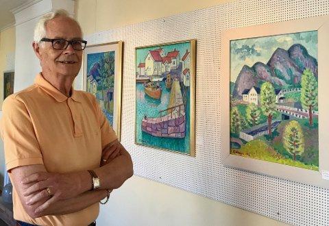 MINNEUTSTILLING: – Det er vemodig, sier gallerist Asbjørn Bergerud, nå blir det salg- og minneutstilling med maleriene til den avdøde Kongsvinger-maleren Reidar Dreyer.