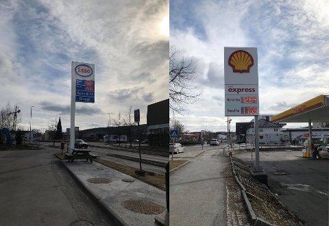 TØFF KONKURRANSE: Fylte du på Esso mandag formiddag, måtte du ut med 16,09 for en liter bensin. Hos Shell derimot, kostet en liter bensin bare 12,64 kroner.