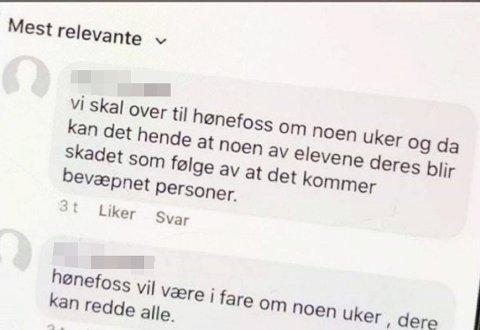 TRUER MED Å SKYTE: En av truslene så slik ut i kommentarfeltet under et Facebook-innlegg på Hønefoss videregående skoles side. (Skjermdump)
