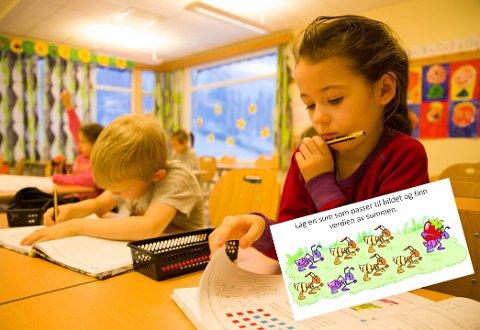 MATEMATIKK: Matematikk er sammen med gym og friminuttene det morsomste som Rita og Iver gjør på skolen.