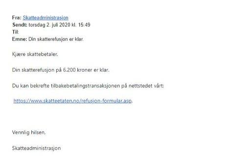 TYDER PÅ SVINDEL: Slik så e-posten som Egil Stensrud mottok fredag. Mye kan tyde på at det dreier seg om et svindelforsøk. Skatteetaten har tidligere advart mot slike e-poster, og har sagt de aldri sender ut lenker i sine e-poster.