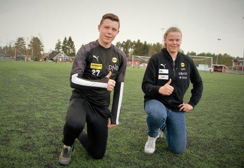 TALETER MED AMBISJONER: For 15-åringene Amanda Karlsen og Ola Bjerkenes er det et felles mål: Å bli best mulig som fotballspillere. De to lokale 15-åringene var nylig med på fotballforbundets digitale landslagssamling for sin aldersgruppe