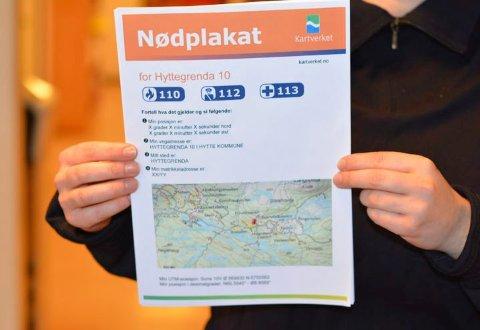 Slik ser den ut, plakaten du enkelt kan lage på Statens Kartverks nettsider.