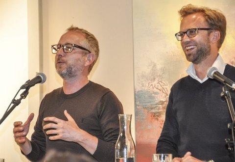 Godt humør: Bård Vegar Solhjell (SV) og Nikolai Astrup (H).