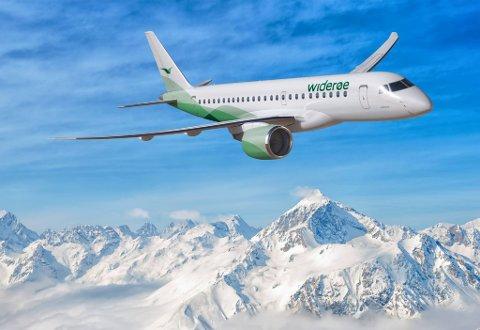 Denne jetmaskinen fra Embraer har 114 seter og trenger samme banelengde som Widerøe sine Q400 maskiner.