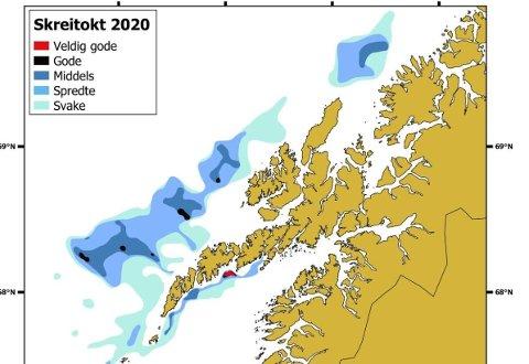 Skreikartet 2020 er utformet av Havforskningsinstituttet, på grunnlag av forskningsfartøyet Johan Hjorts målinger med trål og ekkolodd.