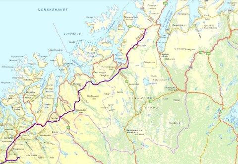 Her går kraftlinjen mellom Balsfjord og Skaidi.
