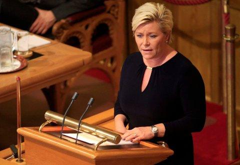 UT?: Finansminister Siv Jensen truer på vegne av Frp med å gå ut av regjeringen.
