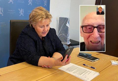 VIDEOCHAT: Det er ikke alle forunt å få en videosamtale av statsministeren. Det fikk Trygve Laheim til å smile bredt. (Foto: Statsministerens kontor/skjermdump)