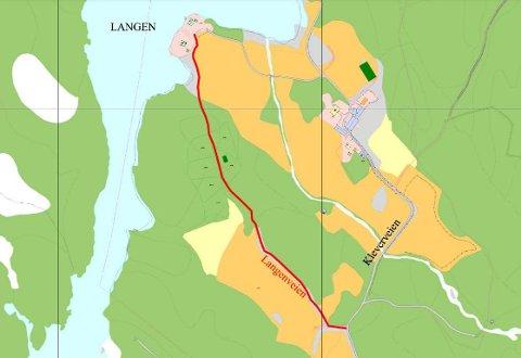 Mangler navn: Veien som går gjennom Langen hytteområde i Rakkestad (merket i rødt) mangler navn. Kommunen og Språkrådet er ikke enige om hva den skal hete.