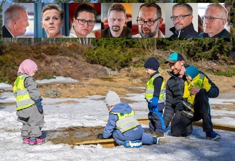 Bildet er en illustrasjon fra en barnehage. Politikerne på bildet fra venstre Alf-Helge Straumfors, Hilde Lillerødvann, Hilde Rønningsen, Lars Frøysa, Jarl Stian Johansson, Johnny Ronesen og Olav Nyjordet.