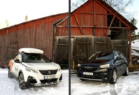 Foran: Dessverer hadde testbilen fra Peugeot skiboks, noe de sier mange kunder velger, men de skaper støy på motorveien. Om det er Opel eller Peugeot som ser best ut er opp til hver enkelt.