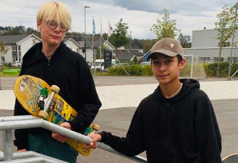 GLEDER SEG: Vegard Whelan Strand (13) og Dennis Fjellstad (13) har skatet mye ved Benterud skole, der de var samlet med andre medlemmer fra Ringerike Rullebrettklubb på onsdag, to dager før de drar til Junior NM Skateboard i Larvik.