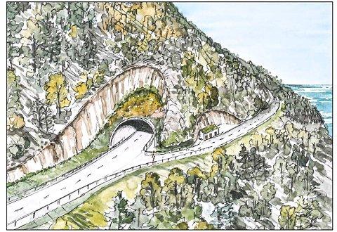 ETTERLENGTET: Allerede i løpet av året kan det bli byggestart for Smaragdtunnelen på fylkesvei 33.Illustrasjon: Sweco
