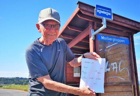 TEGNET RUTE: Terje Gunnulfsen har lagert et kart med beskrivelse over hvordan han kommer må reise kollektivt for å komme fra Slemmestad til Røyken i sommer.