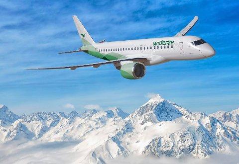JETFLY: Widerøe satser friskt og skal i løpet av første halvår 2018 ta imot tre nye regionale jetfly, av typen Ebmraer fra Brasil. Flyet kan ta 114 passasjerer og skal brukes i trafikk til og fra Torp.