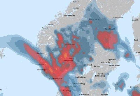 Nedbørskart for kl. 02 søndag. Foto: Skjermbilde/storm.no