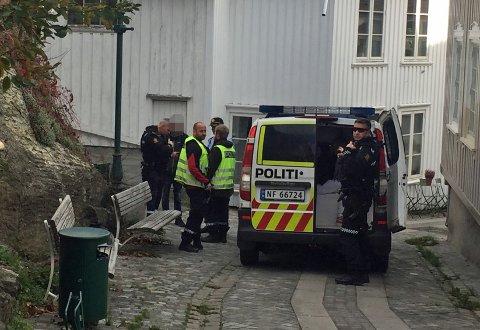PÅGREPET: En person ble pågrepet i en væpnet politiaksjon i Brevik tirsdag ettermiddag. Foto: Edle Eidbo-Hansen