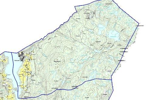 Grensejustering: Kartet viser området som kalles Angard og Hjuksebø krets, og det nå utredes om skal overføres til Notodden kommune fra Sauherad.