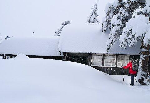 MYE SNØ: Familien Klungseth fikk seg en overraskelse da de kom til hytta i romjulen og fikk se snøen på taket.