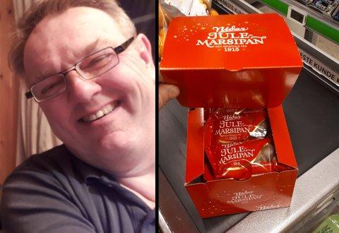 MARSIPAN-KUTT: Jon Torjus Alten er glad i julemarsipan. Til åtte kroner grisen tok han like godt en hel eske.