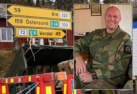 MANGE TURER: Løytnant Espen Lunnan er nestkommanderende i Stiklestad heimevernsdistrikt som tok den tyngste børa da HV bisto ved en pandemistengt grenseovergang i Sandvika i Verdal.