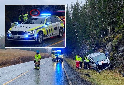 LITE SAMARBEIDSVILLIG: Sjåføren som kjørte firmabilen rett i fjellveggen tirsdag ble tatt med til politistasjon.