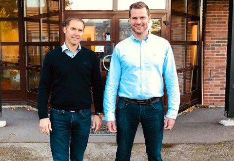 BETYDELIG AKTØR: - Vi skal være en betydelig aktør som skal bidra til å mette boligbehovet i årene framover, sier daglig leder Espen Hegg i Osberg Bygg (t.v.), og daglig leder i oppkjøpte Færder Boligutvikling, Jørgen Skoie.