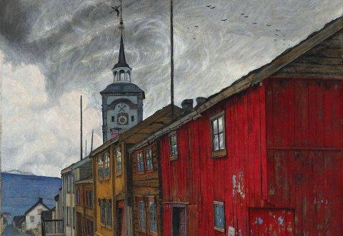 """Sohlberg: Fredag 2. juli kan du oppleve hele Harald Sohlbergs maleri """"Gate i Røros 1902"""" på nært hold på Røros."""