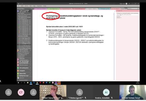 – Det er ikke akkurat klart språk å bruke ordet «prolongere», mener Høyre-politikeren Eivind Nævdal-Bolstad (til høyre). Her under det digitale utvalgsmøtet som ble holdt tirsdag kveld.