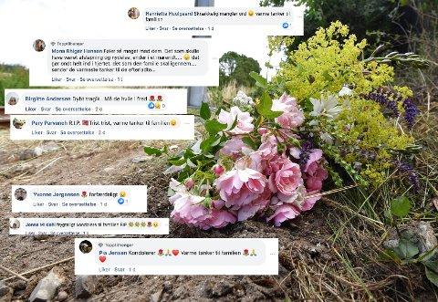 ULYKKESSTED: Et letbanetog passerer ved stedet der en norsk mann og hans sønn mistet livet i en ulykke lørdag mellom en personbil og et letbanetog i Trustrup på Djursland.  Nå strømmer det inn hilsener fra hele Danmark.